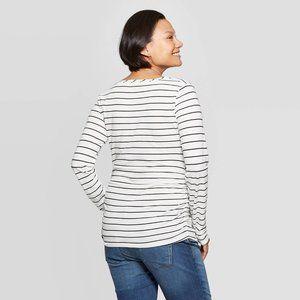 Isabel Maternity by Ingrid & Isabel Tops - Maternity Long Sleeve Shirred V Neck T-Shirt